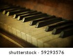 Black and white piano keys, music concept - stock photo