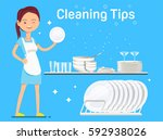maid washing dishes and bowls... | Shutterstock .eps vector #592938026