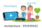 listening to music through... | Shutterstock .eps vector #592939652