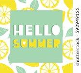 background with fresh lemons...   Shutterstock .eps vector #592949132