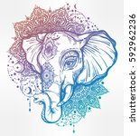 decorative vector elephant with ... | Shutterstock .eps vector #592962236