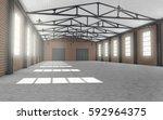 clean empty warehouse interior. ... | Shutterstock . vector #592964375