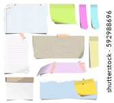 stickers and sticky notes  pins ... | Shutterstock .eps vector #592988696