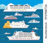 sea cruise liners types.... | Shutterstock .eps vector #592988726