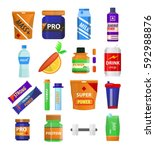 sport and gym fitness nutrition ... | Shutterstock .eps vector #592988876