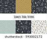 set of navajo tribal patterns... | Shutterstock .eps vector #593002172