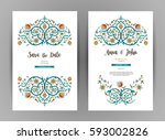 vector vintage cards  ornate... | Shutterstock .eps vector #593002826