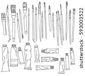 art materials  line drawing set ... | Shutterstock .eps vector #593003522
