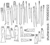 art materials  line drawing set ...   Shutterstock .eps vector #593003522