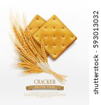 two vector crackers and wheat... | Shutterstock .eps vector #593013032