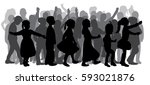 vector silhouette of a crowd of ...   Shutterstock .eps vector #593021876