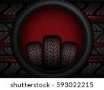 black rubber tires on red... | Shutterstock .eps vector #593022215