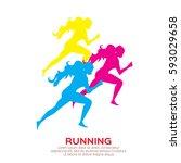 woman running. girl run  jogge. ...   Shutterstock .eps vector #593029658