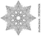 vector henna tatoo mandala.... | Shutterstock .eps vector #593039606