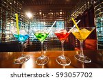 multicolored cocktails at the... | Shutterstock . vector #593057702