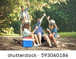 group of friends is sitting on... | Shutterstock . vector #593060186
