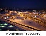 Night Winter Cityscape With Bi...