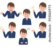 illustration of various facial... | Shutterstock .eps vector #593060975
