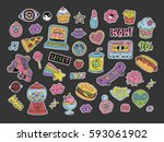 cartoon patches stickers or... | Shutterstock .eps vector #593061902