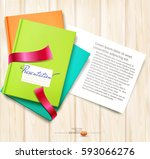 vector background  books and... | Shutterstock .eps vector #593066276