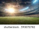 soccer field with green grass | Shutterstock . vector #593070782