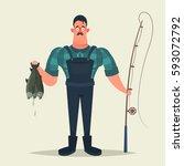 funny cartoon character. happy... | Shutterstock .eps vector #593072792