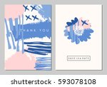 a set of two wedding stationery ...   Shutterstock .eps vector #593078108