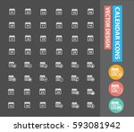 calendar icon set clean vector | Shutterstock .eps vector #593081942