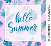 lettering on watercolor tropic... | Shutterstock . vector #593083082