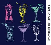 cocktail set. elements for the... | Shutterstock .eps vector #593091356