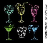 cocktail set. elements for the... | Shutterstock .eps vector #593091362