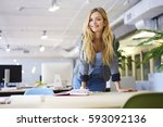 cheerful blonde young female... | Shutterstock . vector #593092136