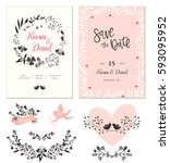 wedding cards with typographic... | Shutterstock .eps vector #593095952