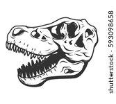 t rex dinosaur skull isolated... | Shutterstock . vector #593098658