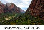 beautiful valley with virgin... | Shutterstock . vector #593101136