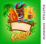 summer beach bar cartoon | Shutterstock .eps vector #593112926
