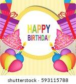 happy birthday  | Shutterstock .eps vector #593115788