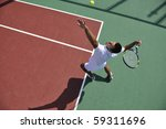 young man play tennis outdoor...   Shutterstock . vector #59311696