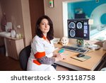 mri machine and screens with... | Shutterstock . vector #593118758