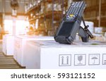 bluetooth barcode scanner with... | Shutterstock . vector #593121152