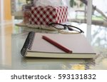 the book notes with a red... | Shutterstock . vector #593131832