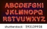 neon alphabet set on black... | Shutterstock .eps vector #593139938