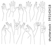 monochrome woman hands set.... | Shutterstock .eps vector #593143418