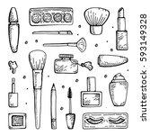 set of make up hand drawn... | Shutterstock .eps vector #593149328