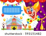 circus poster. happy clown... | Shutterstock .eps vector #593151482
