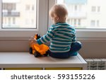 view form behind of toddler... | Shutterstock . vector #593155226