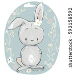 cute cartoon hare | Shutterstock .eps vector #593158592