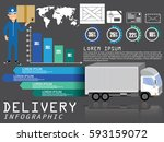 isometric truck transport info... | Shutterstock .eps vector #593159072