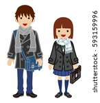 winter fashion student couple ... | Shutterstock .eps vector #593159996