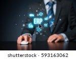 enterprise resource planning... | Shutterstock . vector #593163062